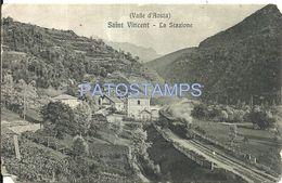 77987 ITALY SAN VINCENT VALLE D'AOSTA STATION TRAIN DAMAGED CUT POSTAL POSTCARD - Unclassified