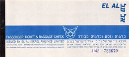 EL AL Billet De Passage Et Bulletin De Bagages  Passenger Ticket And Baggage Check 1960 - Tickets