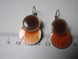 Bijoux. 125. Boucles D'oreilles Double Cercles émaillées Bruns Et Oranges - Orecchini