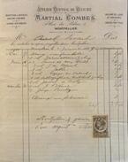 Facture De MARTIAL COMBES - At. Central De Reliure Montpellier à Mr AURIOL Avocat - Timbrée Datée 04.01.1889 Et Signée - France