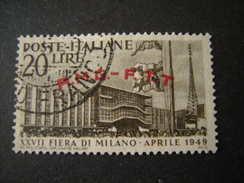 TRIESTE - AMGFTT. 1949, FIERA DI MILANO, L. 20 Bruno Scuro, Usato, TTB - Gebraucht