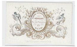 Carte Porcelaine Lithographiée (19e S.) / Porseleinkaart /GENT /GAND/ E.VERMANDEL- NEGOCIANT- RUE DES VANNIERS N°5 - Gent