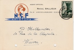 ECAUSSINNES ,carte Publicité ,N.S.F. Aristona,agent Officiel ,RAOUL BALLIEUX - Ecaussinnes