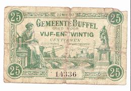 BON De 25c GEMEENTE DUFFEL 14-18 - [ 3] German Occupation Of Belgium
