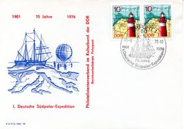"""(DDR-B1) DDR Sonderumschlag """"75 Jahre 1.Deutsche Südpol-Expedition"""" MF 2x Mi 1953 SSt. 11.8.76 ERFURT 1 - Antarktis-Expeditionen"""