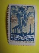 Vignette Jubiläums Ausstellung Riga  1901  Goldene Medaille - Erinofilia