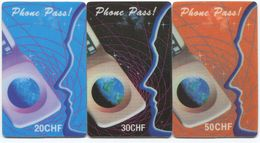 1698 - Phone Pass 20, 30 + 50 CHF Prepaid Telefonkarte - Suisse