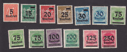 Germany, Scott #242, 243-245, 247-256, Mint Hinged, Numbers And Workers Surcharged, Issued 1923 - Allemagne