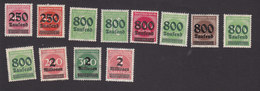 Germany, Scott #259-266, 268-270, 272, Mint Hinged, Numbers Surcharged, Issued 1923 - Allemagne