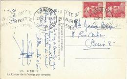 Marianne De Gandon N° 721 2 Timbres Flamme A Texte Biarritz - Usados