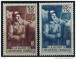 """FR YT 386 & 387 """" A La Gloire De L'Infanterie """" 1938 Neuf** - Unused Stamps"""