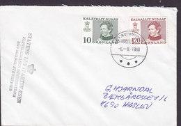 Greenlnd STATENS LUFTFARTSVÆSEN, SDR. STRØMFJORD 1980 Cover Brief HASLEV Denmark (Cz. Slania) Stamps - Groenland