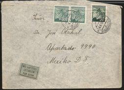 J) 1945 CZECHOSLOVAKIA, HOJAS DE LINDEN Y BUDS, AIRMAIL, CIRCULATED COVER, FROM CZECHOSLOVAKIA TO MEXICO - Czechoslovakia