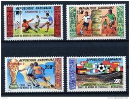 Gabon, 1986, Soccer World Cup Mexico, Football, Overprinted, MNH, Michel 972-975 - Gabon (1960-...)