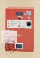 ISLAND ATM 1.1.1 B Auf AK: Wertzeichenautomat FRAMA FE 141, St: Island 26.5.84 Zur 5. Int.Briefmarken-Messe Essen '84 - Vignettes D'affranchissement (Frama)