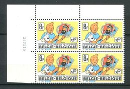 104 BELGIQUE 1979 - Yvert 1939 X 4 Coin Date - Tintin Jeunesse Loupe Timbre - Neuf ** (MNH) Sans Trace De Charniere - Belgium