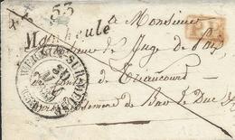 Meuse : Devant De Lettre De Manheule Avec Cursive, Marque PP Rouge Et CAD13 De Verdun. Indice16-cote 190€. - Postmark Collection (Covers)