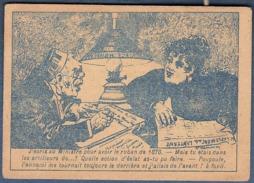 Chromo Chapellerie Aux Fabriques De France Amichaud Bourges Humour Dessin Lampuré Guerre De 1870 Lampe Couple Ministre - Trade Cards