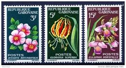 Gabon, 1964, Flowers, Flora, MNH, Michel 210-212 - Gabon (1960-...)