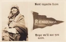 Greetings From Reno Nevada, Native American Indian Woman, C1940s Vintage Real Photo Postcard - Reno