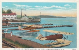 Lake Winnepesaukee New Hampshire, Seaplane & Steamer Landing Docks On Lake, C1930s Vintage Postcard - United States