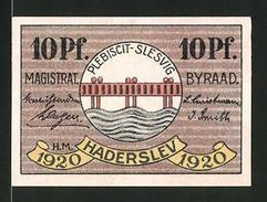 Billet De Nécessité Hadersleben 1920, 10 Pfennig, Armoiries - Danemark