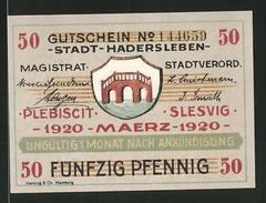 Notgeld Hadersleben 1920, 50 Pfennig, Stadtwappen, Kirche - Dänemark