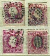PORTUGAL, AF 13,16,22,40: Yv 11, 15, 21, 40, Used, F/VF, Cat. € 43,00 - 1855-1858 : D.Pedro V