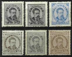 PORTUGAL, AF 56/58, 60: Yv 56, 56A, 59, 61, (*)/* MNG/MLH, Ave/Fine, Cat. € 250,00 - 1862-1884 : D.Luiz I
