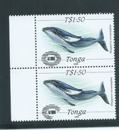 Tonga 1989 $1.50 Whale Pair Private Unauthorised ' NZ 1990 ' Overprint  MNH - Tonga (1970-...)