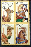 US 1988  Sc#2393a   25c Carousel Art Block Of 4 MNH** - Etats-Unis