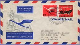 GER SC #C64, 728 Air Mail Hamburg To New York  06-11-1955 W/wrinkles UL Quadrant - Covers