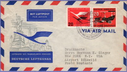 GER SC #C64, 728 Air Mail Hamburg To New York  06-11-1955 W/wrinkles UL Quadrant - [7] Federal Republic