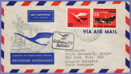 GER SC #C64, 728 Air Mail Dusseldorf To New York  06-08-1955 - [7] Federal Republic
