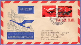 GER SC #C64, 728 Air Mail Hamburg To New York  06-08-1955 - [7] Federal Republic