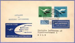"GER SC #C62-3 + ""NOTOPFER"" FFLT Lufthansa: Hamburg To Koln  04-01-1955 - [7] Federal Republic"