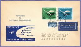 """GER SC #C62-3 + """"NOTOPFER"""" FFLT Lufthansa: Hamburg To Dusseldorf  04-01-1955 - [7] Federal Republic"""