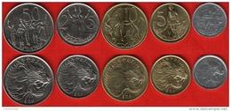 Ethiopia Set Of 5 Coins: 1 - 50 Santeem UNC - Ethiopië