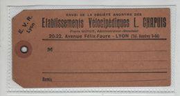 EVR Lyon Etablissements Vélocipédiques Chapuis Rare - Billetes De Transporte
