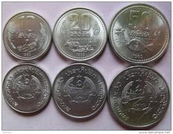 Laos Set Of 3 Coins 1980  (10+20+50 Att) UNC - Laos