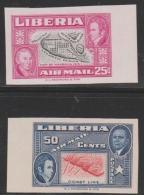 LIBERIA - 1952  25c, 50c Ashmun IMPERF.  Scott C68-69. MNH ** - Liberia
