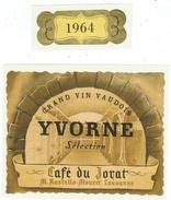 Rare // Yvorne,Grand Vins Vaudois 1964, Café Du Jorat, M.Rastello-Mouret, Lausanne, Vaud // Suisse - Etiquettes