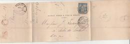Perforation FA Sur Lettre 1888-Aunac Père Et Fils & Drapé Agen. - France