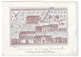 Carte Porcelaine -- 19° S.--BRUGGE--Porseleinkaart --PENSIONNAT DE JEUNES FILLES DE L'ABBAYE DE SPERMALIE-- - Brugge