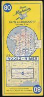 Carte Routière Michelin, France, N° 80, RODEZ-NIMES (1961), 1/200.000, 1 Cm Pour 2 Km - Roadmaps