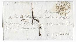 1832 - LETTRE De LE HAVRE (SEINE INFERIEURE) Par ESTAFETTE Avec T13 => PARIS - 1801-1848: Précurseurs XIX