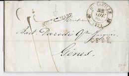 1833 - LETTRE De MARSEILLE Avec T13 + MARQUE TRANSIT MARITIME NIZZA MARE (NICE) => GENES (ITALIE) - 1801-1848: Precursori XIX