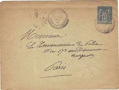 Sur Entier Postal Enveloppe Sage 15 C , Cachet Boitier Primitif  Malause Tarn Et Garonne 1885. Verso Convoyeurs Et Paris - Marcophilie (Lettres)