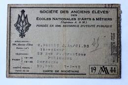Carte Société Des Anciens élèves Ecoles Nationales D'Arts Et Métiers 1944 M. Hubert Périgueux Classe 38 - Diplômes & Bulletins Scolaires