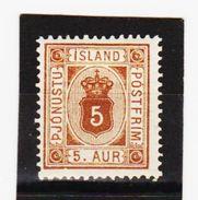 MAG1352  ISLAND 1876  Michl  4 A  DIENST  Us(*) UNGEBRAUCHT Mit FALZ  ZÄHNUNG Siehe ABBILDUNG - Dienstpost